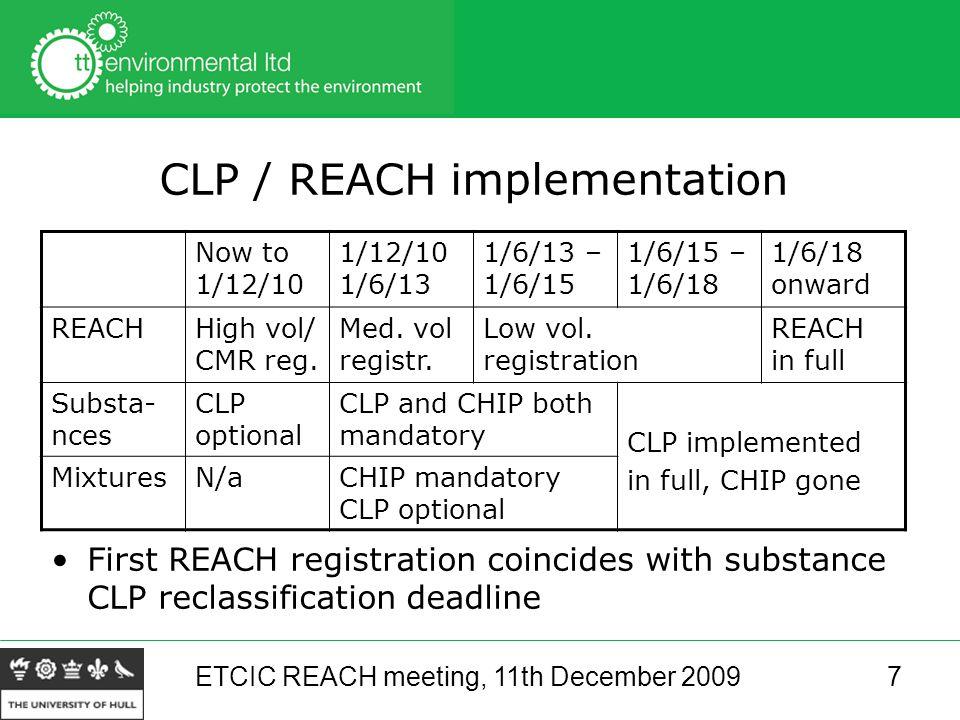 ETCIC REACH meeting, 11th December 20097 CLP / REACH implementation Now to 1/12/10 1/12/10 1/6/13 1/6/13 – 1/6/15 1/6/15 – 1/6/18 1/6/18 onward REACHHigh vol/ CMR reg.