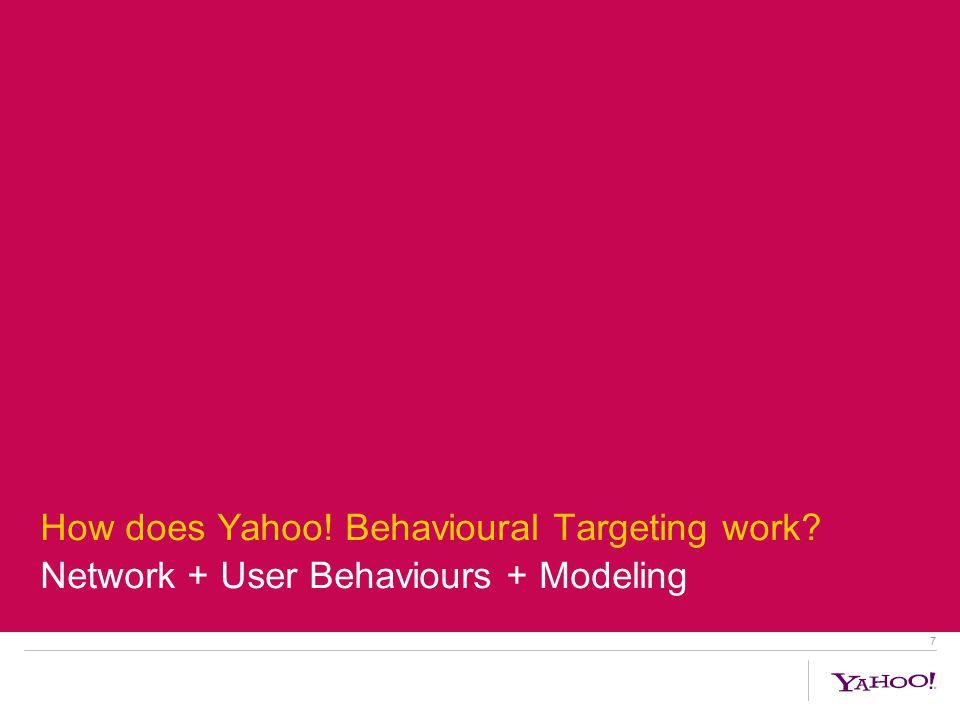 7 How does Yahoo! Behavioural Targeting work Network + User Behaviours + Modeling