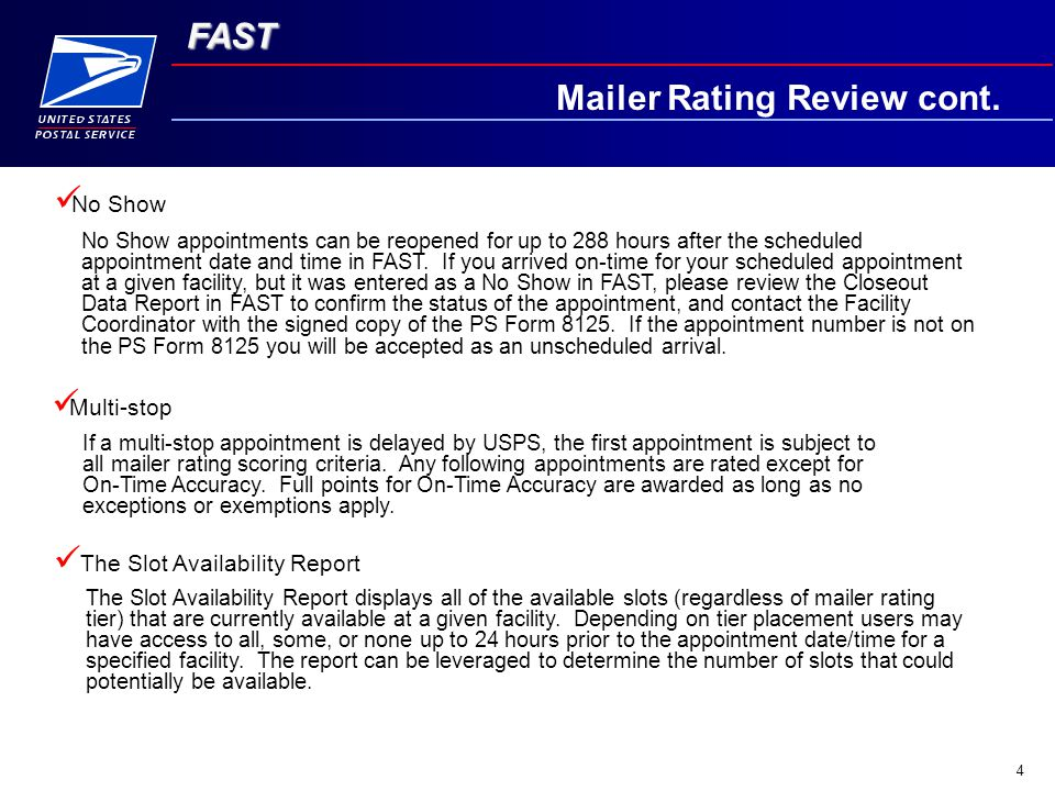 FAST 4 Mailer Rating Review cont.