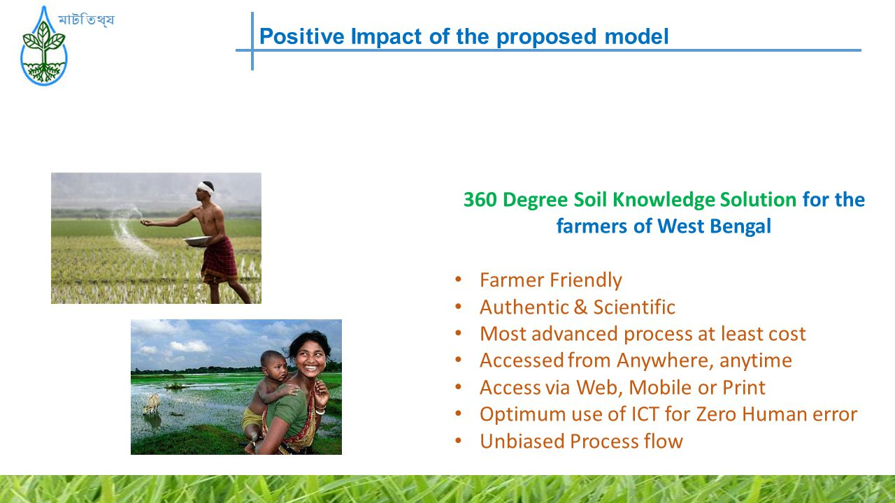 Positive Impact of the proposed model মাটি তথ্য 360 Degree Soil Knowledge Solution for the farmers of West Bengal Farmer Friendly Authentic & Scientif