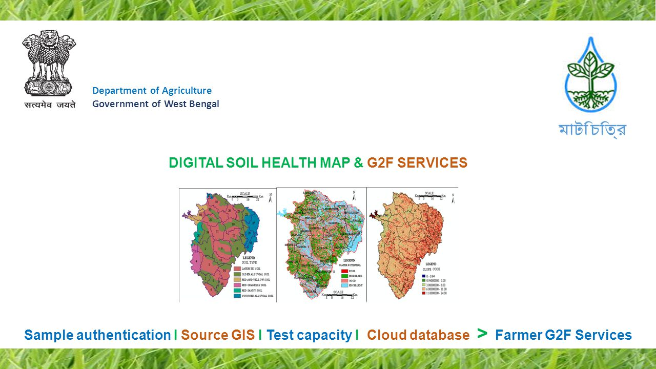 Department of Agriculture Government of West Bengal GIS based, Farmer friendly Smart Soil Health Card Management System Planned ICT intervention will lead to: 1.Smart Soil health card:Farmer friendly interfaces, Cloud data accessible on Phone 2.G2F services on Soil:Linking Fertilizer calculator to create 'Intelligent cropping pattern' 3.Authenticity of Soil Source:Image Lat-Long 4.Bar-Coded package:Process automation ensuring Zero human error 5.Feeding Test data in Cloud:Auto create Digital Soil Map - Nutrient-wise How Farmers will get benefitted: 1.Intelligent Farm solutions:Based on Soil test data - Even on Phone, 24/7 2.Smart Health Card:Access Soil test data in a useful way, 24/7 3.GIS Automation:Authenticity of Collection at Farm gate 4.Time bound Solution:Collection, Test & Result publication in the fastest possible way 5.Capacity building:Soil Test Labs efficiency improvement 6.Grass-root Awareness:Promoting benefit of Soil test to farmers through Matir Katha মাটি চিত্র