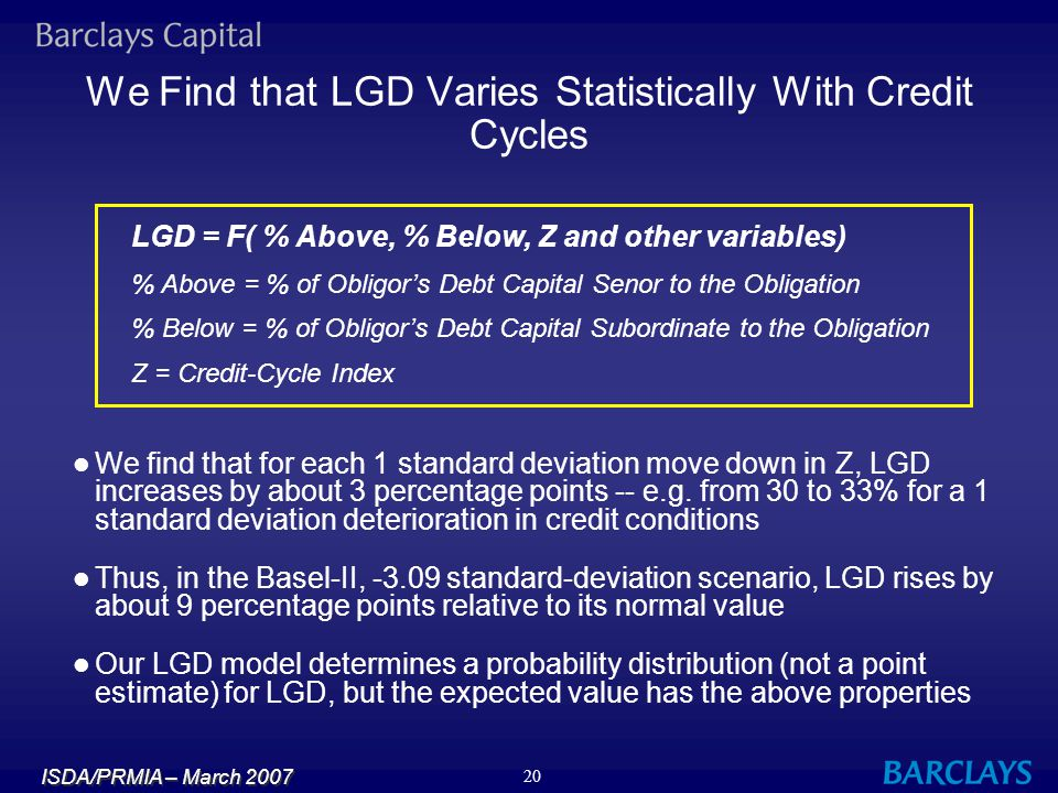 ISDA/PRMIA – March 2007 20 We Find that LGD Varies Statistically With Credit Cycles LGD = F( % Above, % Below, Z and other variables) % Above = % of O