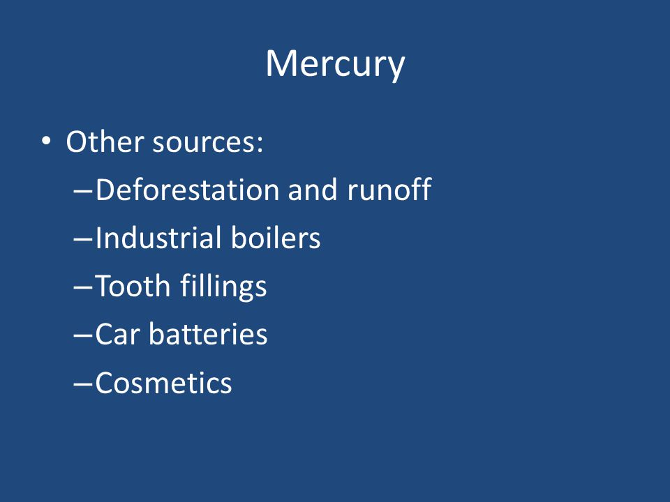 Mercury Other sources: – Deforestation and runoff – Industrial boilers – Tooth fillings – Car batteries – Cosmetics