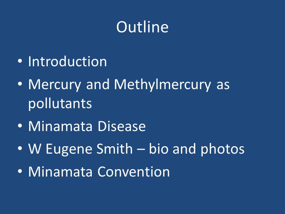 Outline Introduction Mercury and Methylmercury as pollutants Minamata Disease W Eugene Smith – bio and photos Minamata Convention