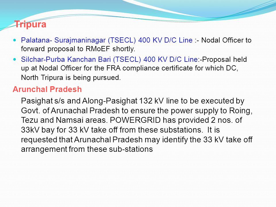 Tripura Palatana- Surajmaninagar (TSECL) 400 KV D/C Line :- Nodal Officer to forward proposal to RMoEF shortly.