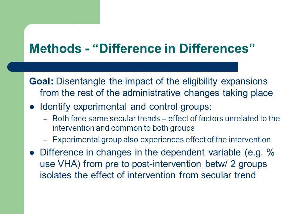 Methods - Difference in Differences Goal: Disentangle the impact of the eligibility expansions from the rest of the administrative changes taking place Identify experimental and control groups: – Both face same secular trends – effect of factors unrelated to the intervention and common to both groups – Experimental group also experiences effect of the intervention Difference in changes in the dependent variable (e.g.