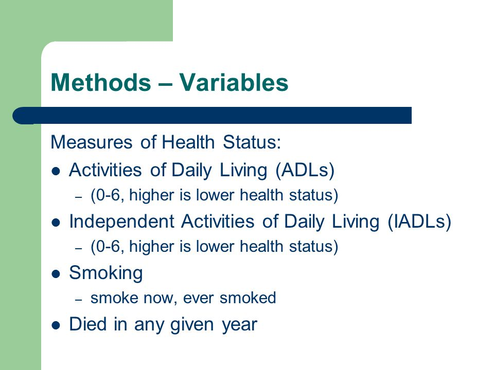 Methods – Variables Measures of Health Status: Activities of Daily Living (ADLs) – (0-6, higher is lower health status) Independent Activities of Daily Living (IADLs) – (0-6, higher is lower health status) Smoking – smoke now, ever smoked Died in any given year