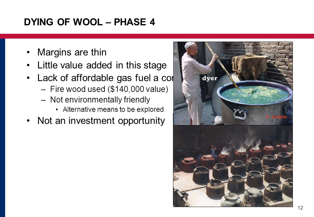 12 DYING OF WOOL – PHASE 4 Margins are thin Little value added in this stage Lack of affordable gas fuel a constraint –Fire wood used ($140,000 value) –Not environmentally friendly Alternative means to be explored Not an investment opportunity