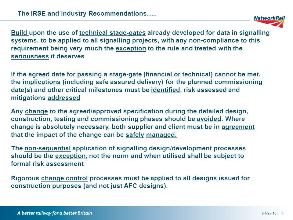 / The IRSE and Industry Recommendations…..