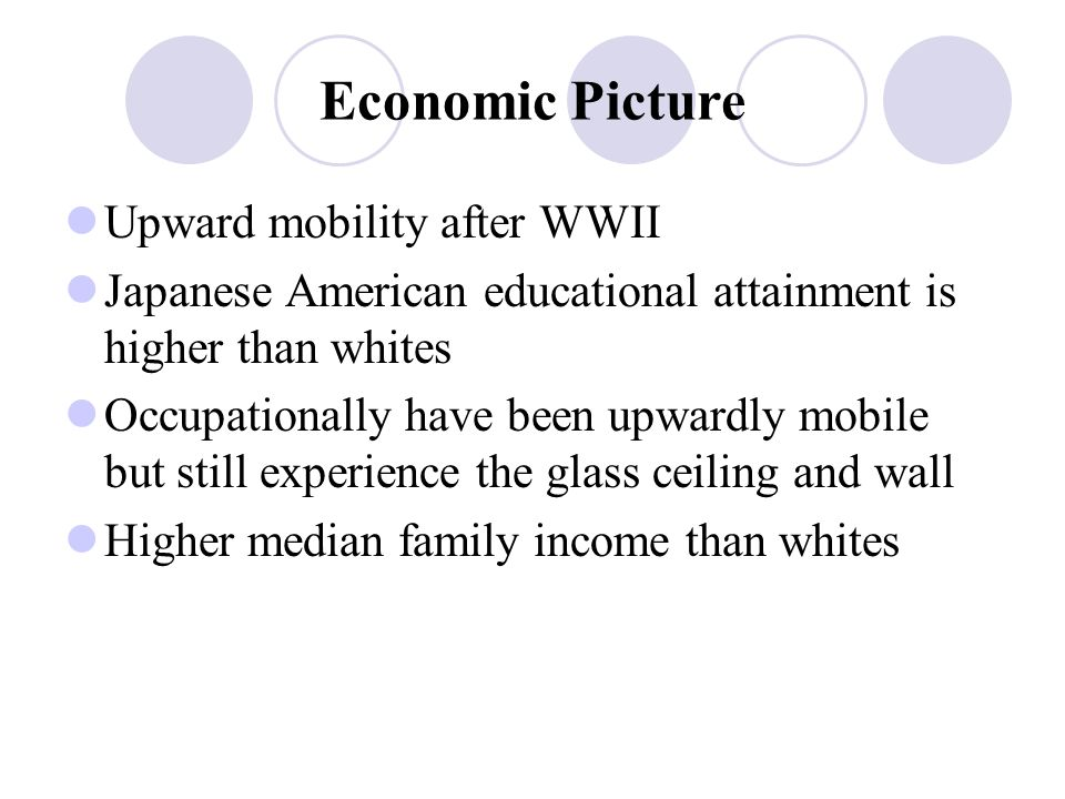 Economic Picture Upward mobility after WWII Japanese American educational attainment is higher than whites Occupationally have been upwardly mobile but still experience the glass ceiling and wall Higher median family income than whites
