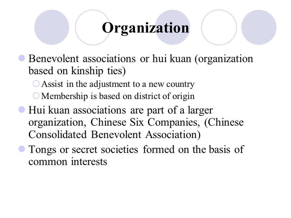 Organization Benevolent associations or hui kuan (organization based on kinship ties)  Assist in the adjustment to a new country  Membership is base
