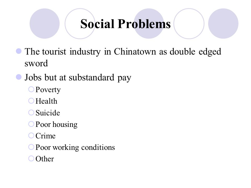 Social Problems The tourist industry in Chinatown as double edged sword Jobs but at substandard pay  Poverty  Health  Suicide  Poor housing  Crime  Poor working conditions  Other