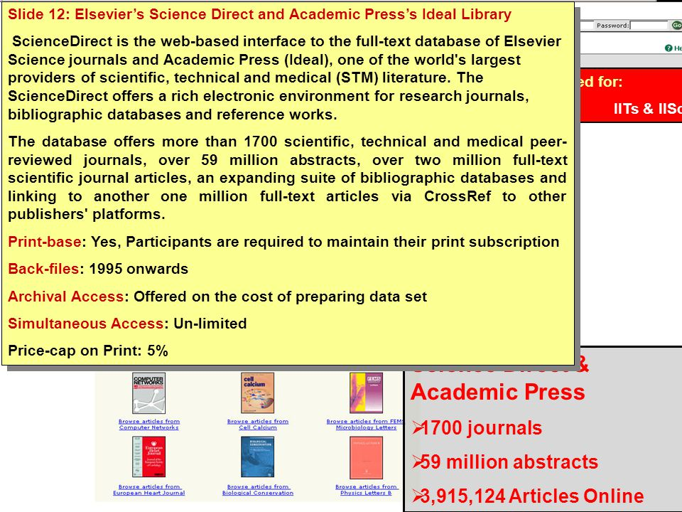 INDEST Consortium Science Direct & Academic Press  1700 journals  59 million abstracts  3,915,124 Articles Online Subscribed for: IITs & IISc Slide 12: Elsevier's Science Direct and Academic Press's Ideal Library ScienceDirect is the web-based interface to the full-text database of Elsevier Science journals and Academic Press (Ideal), one of the world s largest providers of scientific, technical and medical (STM) literature.