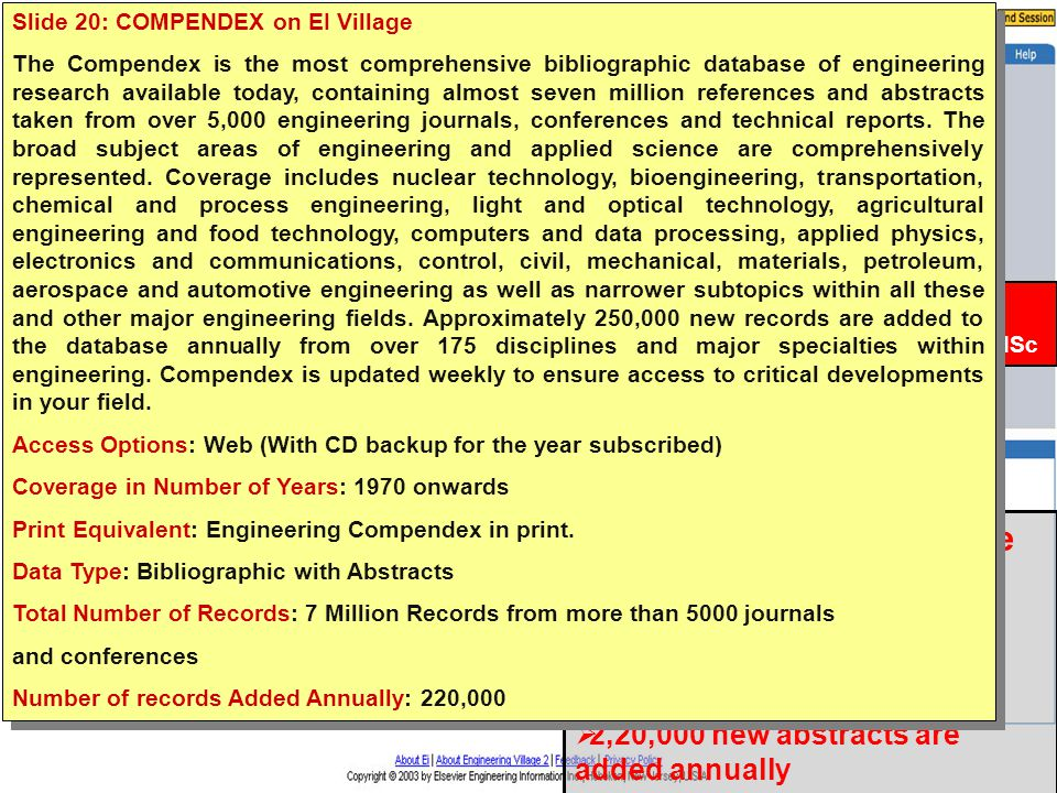 INDEST Consortium  Compendex on EI Village  7 Million Records from more than 5000 journals  1970+  2,20,000 new abstracts are added annually Subscribed for: IITs & IISc Slide 20: COMPENDEX on EI Village The Compendex is the most comprehensive bibliographic database of engineering research available today, containing almost seven million references and abstracts taken from over 5,000 engineering journals, conferences and technical reports.