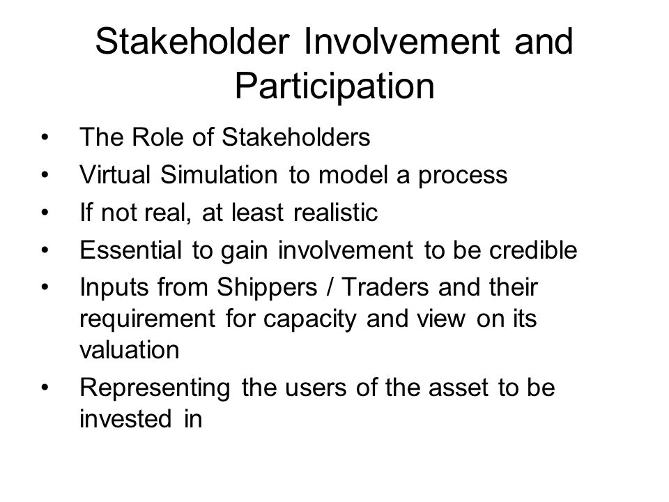Stakeholder Involvement and Participation The Role of Stakeholders Virtual Simulation to model a process If not real, at least realistic Essential to