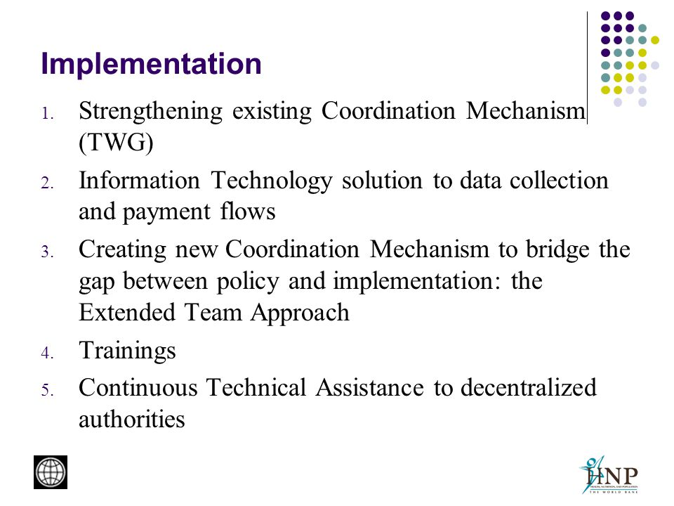 Implementation 1. Strengthening existing Coordination Mechanism (TWG) 2.