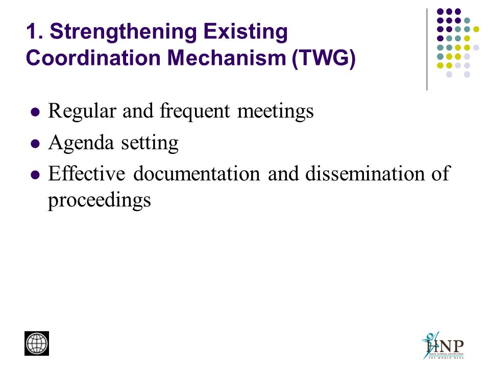 1. Strengthening Existing Coordination Mechanism (TWG) Regular and frequent meetings Agenda setting Effective documentation and dissemination of proce