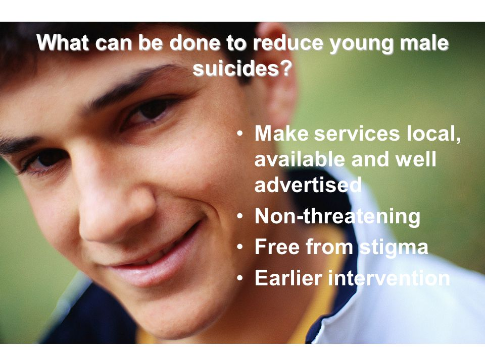 What can be done to reduce young male suicides? Make services local, available and well advertised Non-threatening Free from stigma Earlier interventi