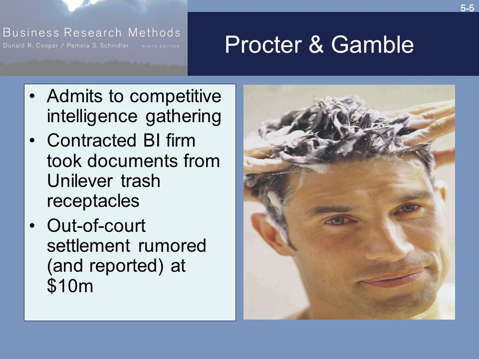5-5 Procter & Gamble Admits to competitive intelligence gathering Contracted BI firm took documents from Unilever trash receptacles Out-of-court settlement rumored (and reported) at $10m