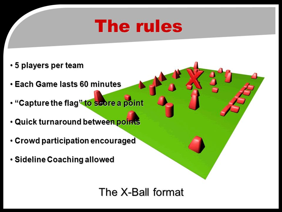 The rules The X-Ball format 5 players per team 5 players per team Each Game lasts 60 minutes Each Game lasts 60 minutes Capture the flag to score a point Capture the flag to score a point Quick turnaround between points Quick turnaround between points Crowd participation encouraged Crowd participation encouraged Sideline Coaching allowed Sideline Coaching allowed