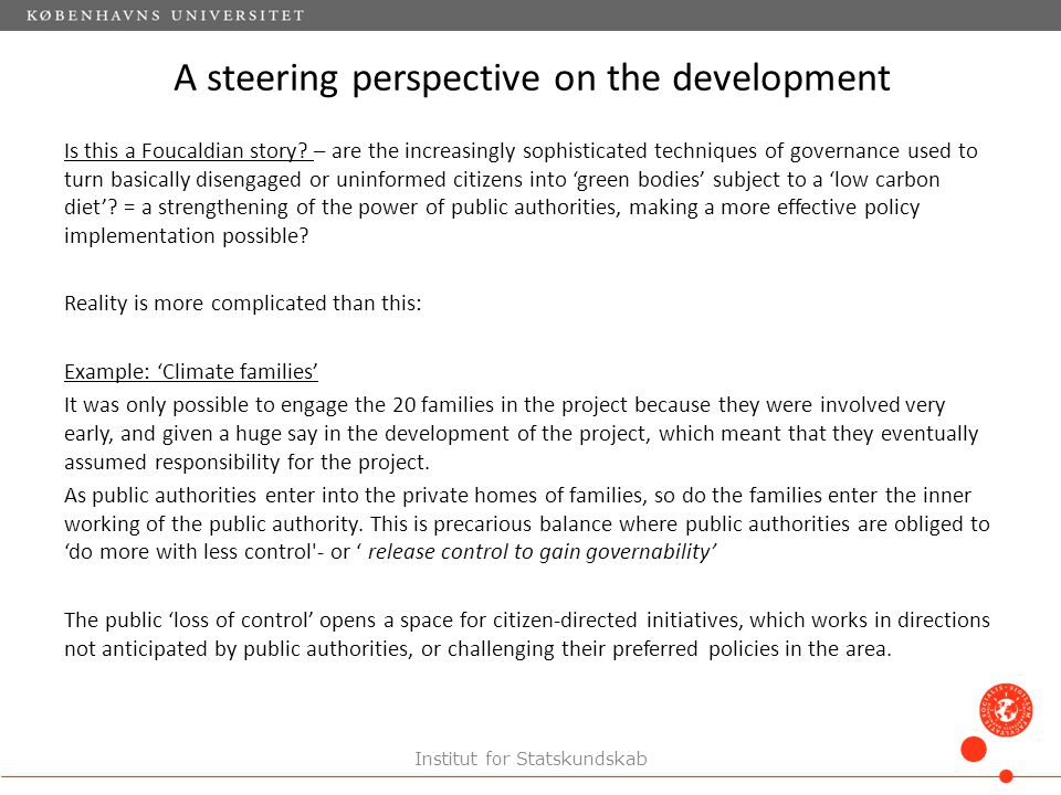 A steering perspective on the development Is this a Foucaldian story.