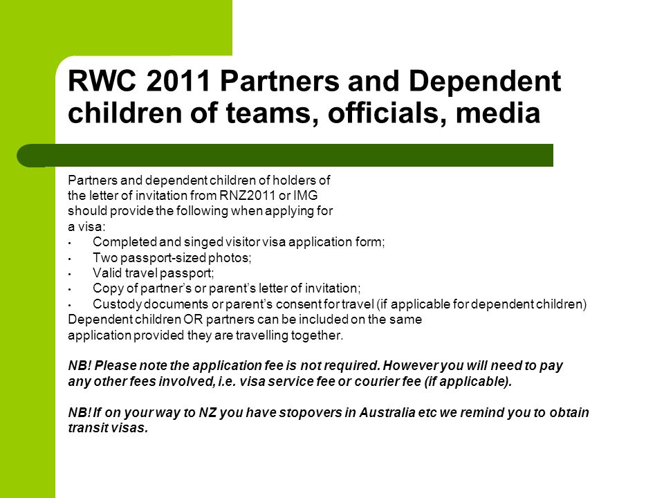 RWC 2011 Partners and Dependent children of teams, officials, media Partners and dependent children of holders of the letter of invitation from RNZ201