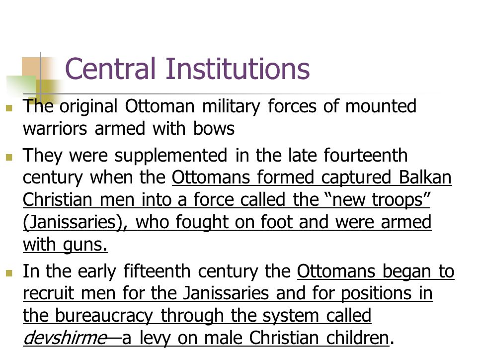 Economic Change and Growing Weakness, 1650–1750 The period of crisis led to significant changes in Ottoman institutions: 1.