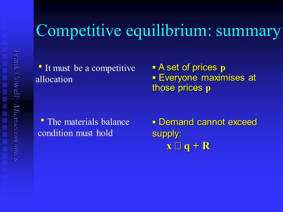 Frank Cowell: Microeconomics Competitive equilibrium: summary  A set of prices p  Everyone maximises at those prices p   It must be a competitive
