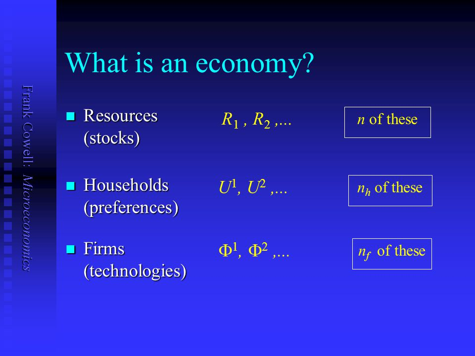 Frank Cowell: Microeconomics Alf and Bill as a microcosm The Crusoe equilibrium story translates to a many- person economy.