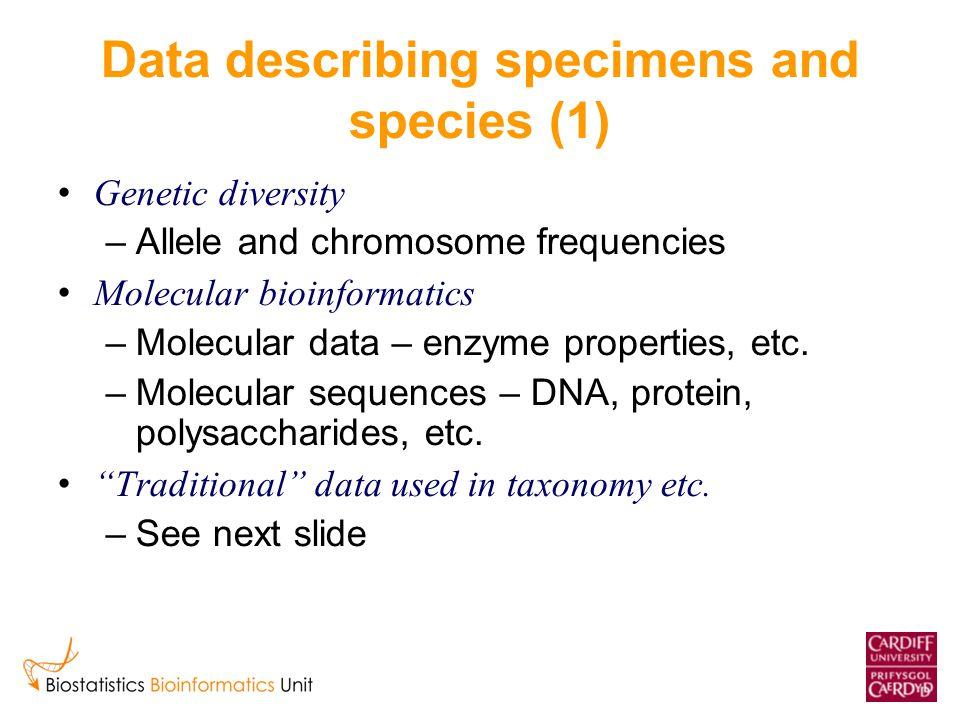 Data describing specimens and species (1) Genetic diversity –Allele and chromosome frequencies Molecular bioinformatics –Molecular data – enzyme properties, etc.