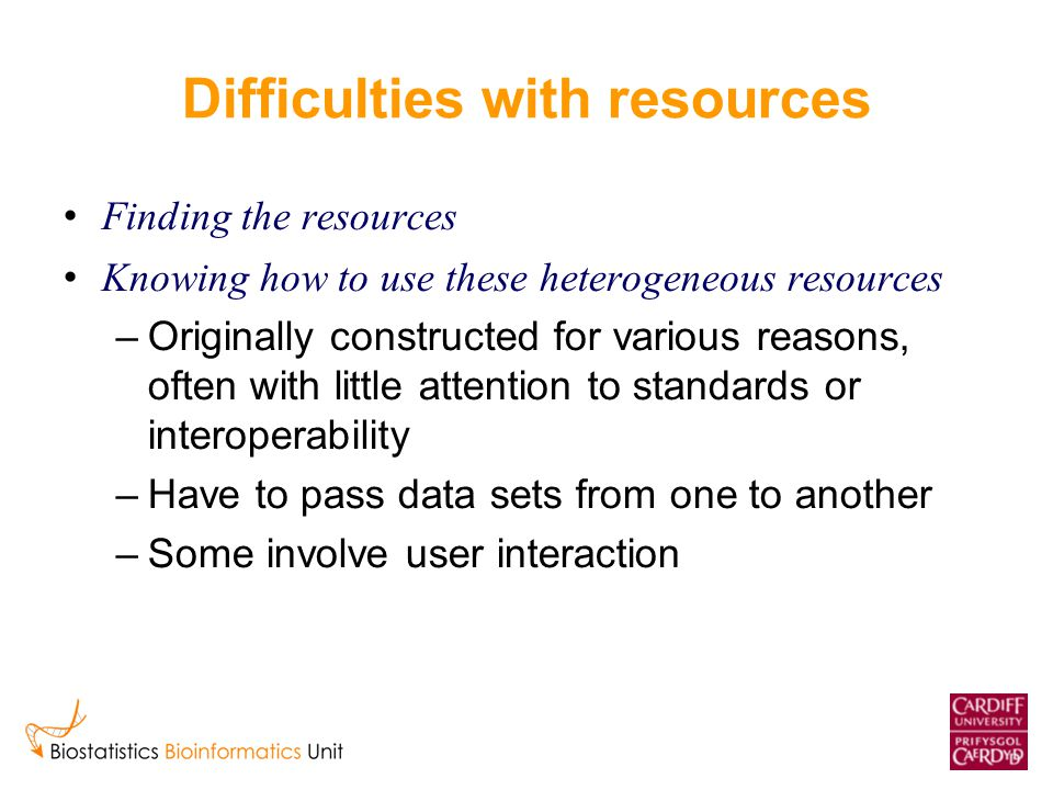 Difficulties with resources Finding the resources Knowing how to use these heterogeneous resources –Originally constructed for various reasons, often with little attention to standards or interoperability –Have to pass data sets from one to another –Some involve user interaction