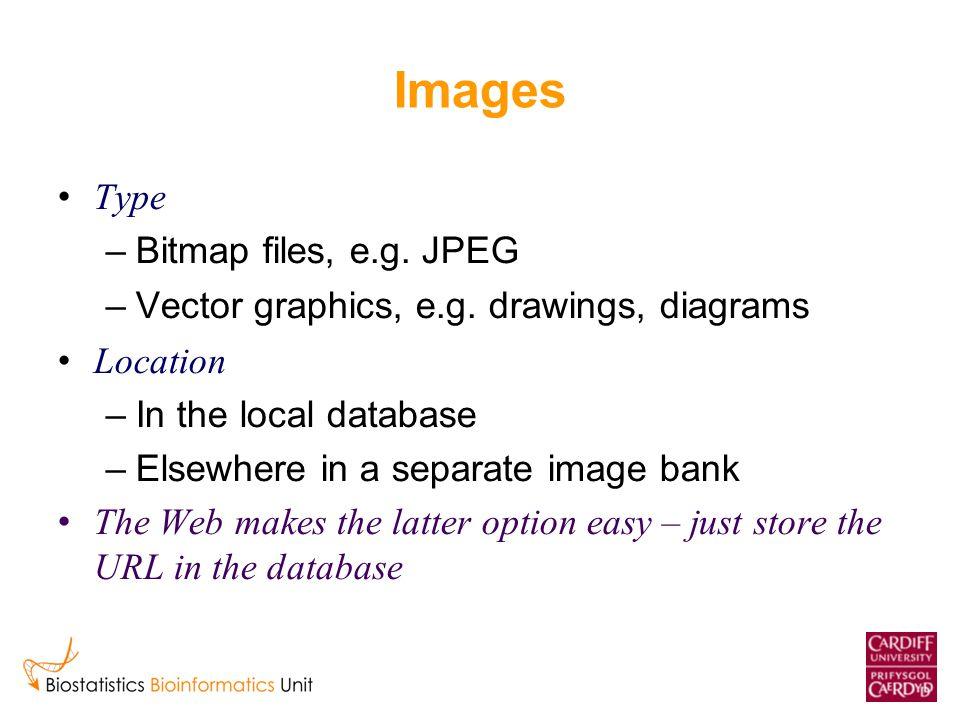 Images Type –Bitmap files, e.g. JPEG –Vector graphics, e.g.