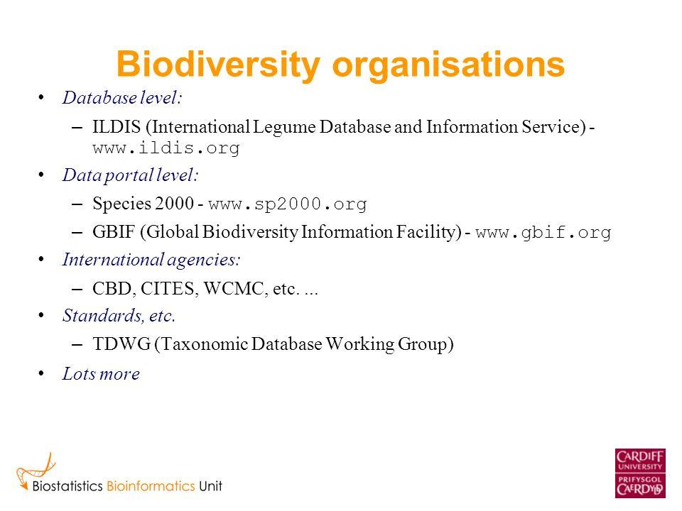 Biodiversity organisations Database level: – ILDIS (International Legume Database and Information Service) - www.ildis.org Data portal level: – Species 2000 - www.sp2000.org – GBIF (Global Biodiversity Information Facility) - www.gbif.org International agencies: – CBD, CITES, WCMC, etc....