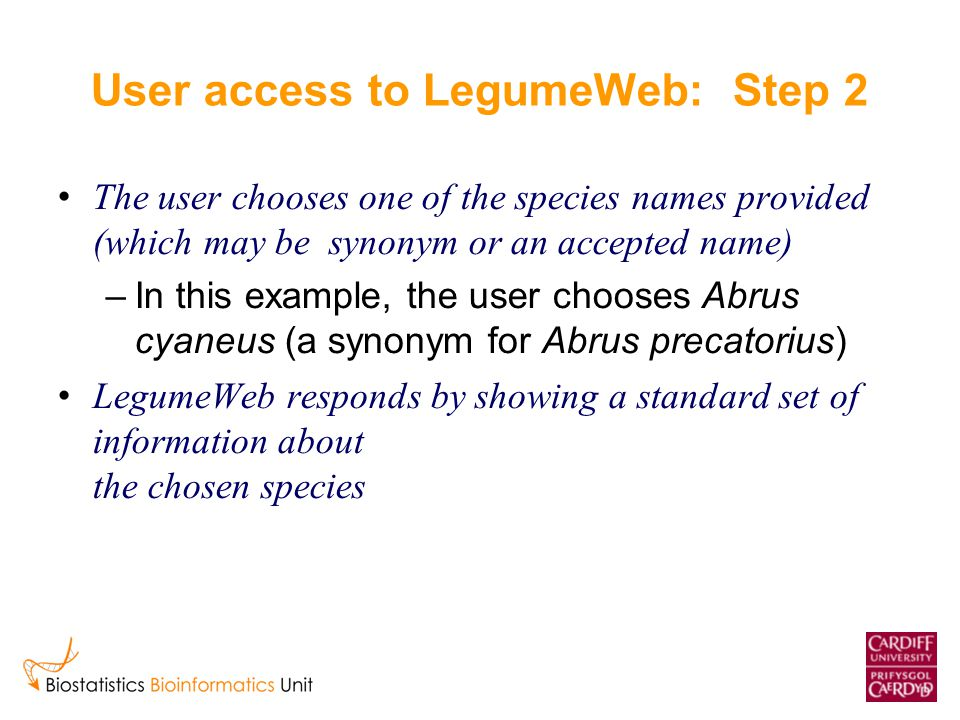 User access to LegumeWeb: Step 2 The user chooses one of the species names provided (which may be synonym or an accepted name) –In this example, the u