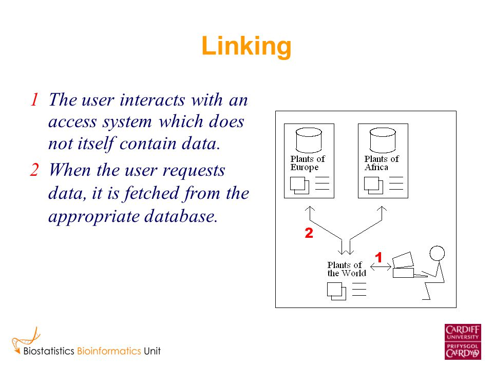 Linking 1The user interacts with an access system which does not itself contain data.