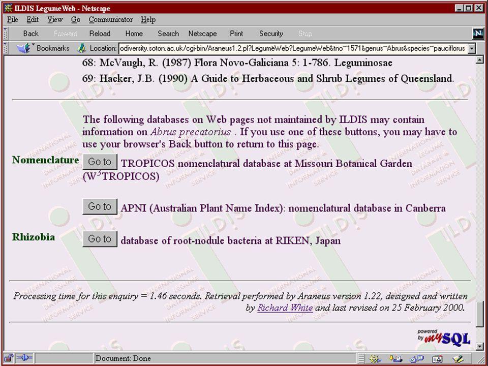 LegumeWeb page with onward links