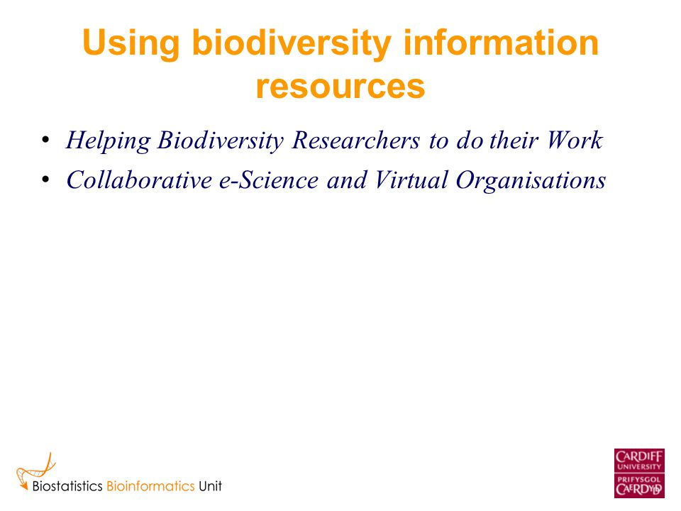 Using biodiversity information resources Helping Biodiversity Researchers to do their Work Collaborative e-Science and Virtual Organisations