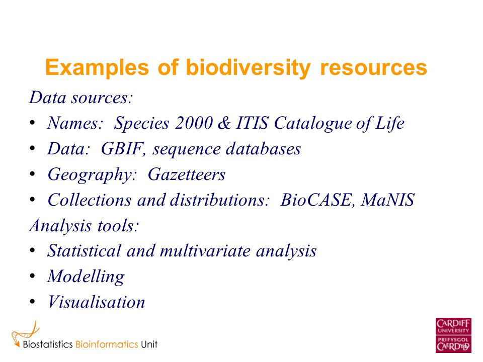 Examples of biodiversity resources Data sources: Names: Species 2000 & ITIS Catalogue of Life Data: GBIF, sequence databases Geography: Gazetteers Col