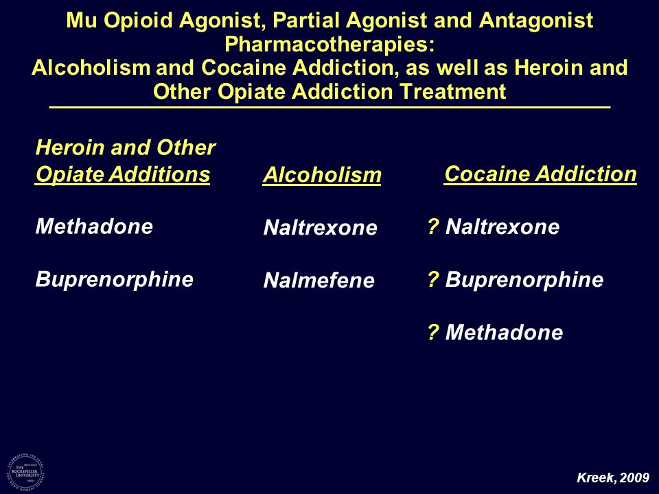 Mu Opioid Agonist, Partial Agonist and Antagonist Pharmacotherapies: Alcoholism and Cocaine Addiction, as well as Heroin and Other Opiate Addiction Treatment Alcoholism Naltrexone Nalmefene Cocaine Addiction .