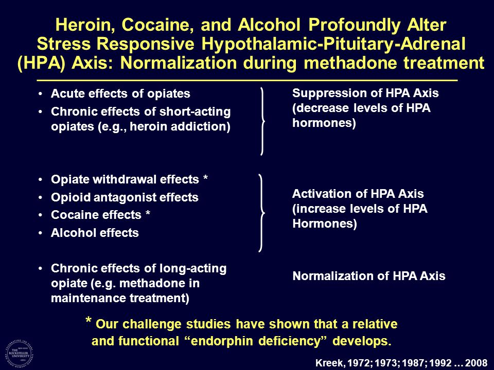 Acute effects of opiates Chronic effects of short-acting opiates (e.g., heroin addiction) Opiate withdrawal effects * Opioid antagonist effects Cocaine effects * Alcohol effects Chronic effects of long-acting opiate (e.g.