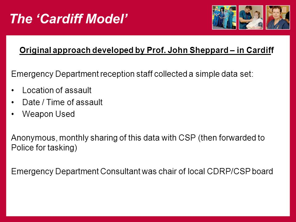 The 'Cardiff Model' Original approach developed by Prof.