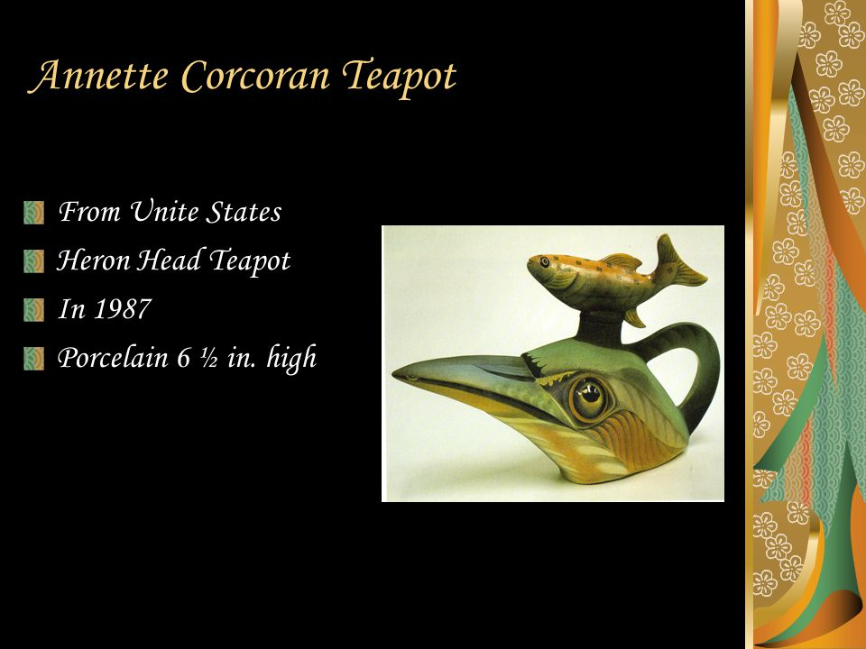 Annette Corcoran Teapot From Unite States Heron Head Teapot In 1987 Porcelain 6 ½ in. high