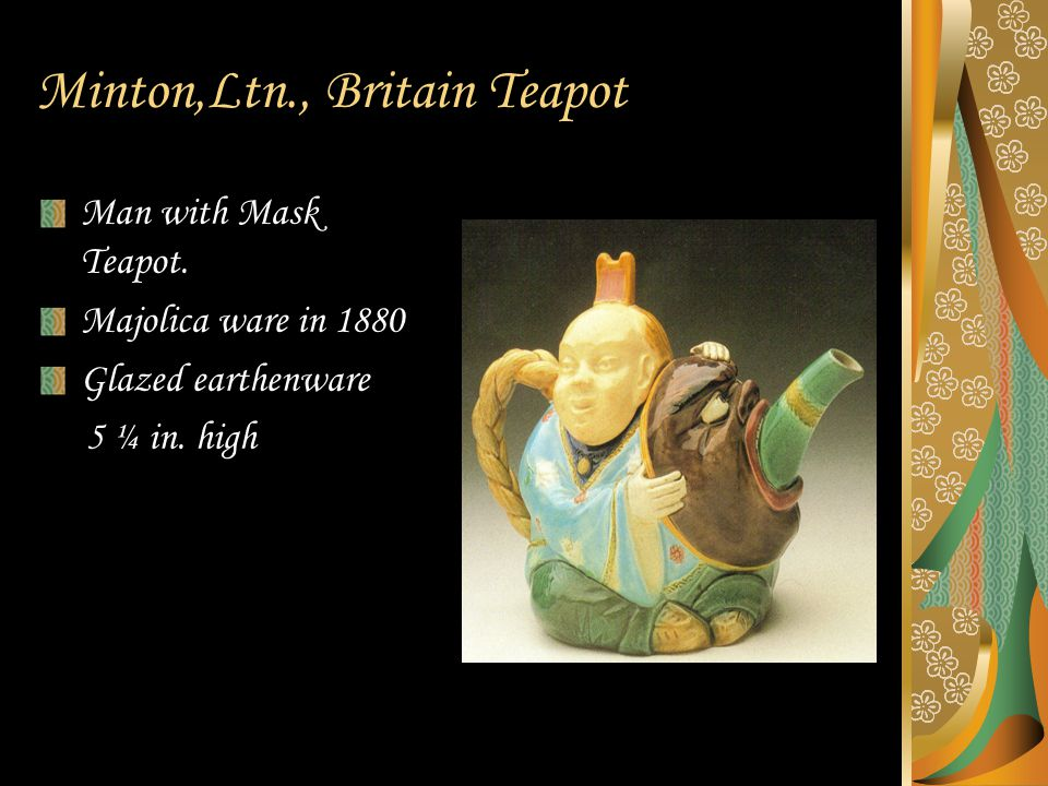 Minton,Ltn., Britain Teapot Man with Mask Teapot. Majolica ware in 1880 Glazed earthenware 5 ¼ in.