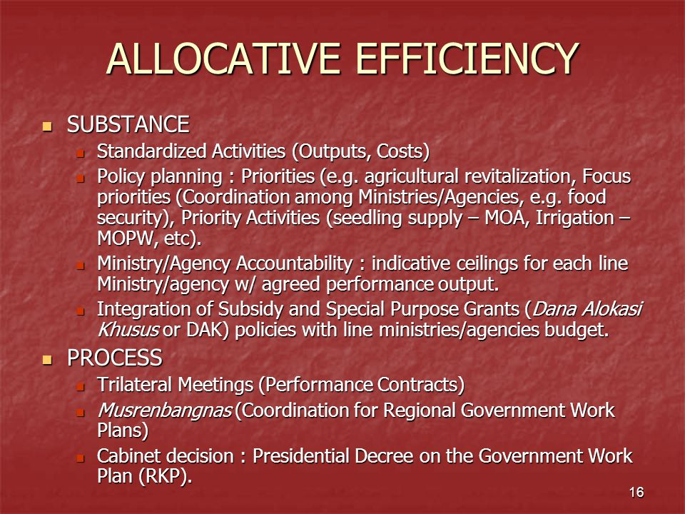 16 ALLOCATIVE EFFICIENCY SUBSTANCE SUBSTANCE Standardized Activities (Outputs, Costs) Standardized Activities (Outputs, Costs) Policy planning : Prior