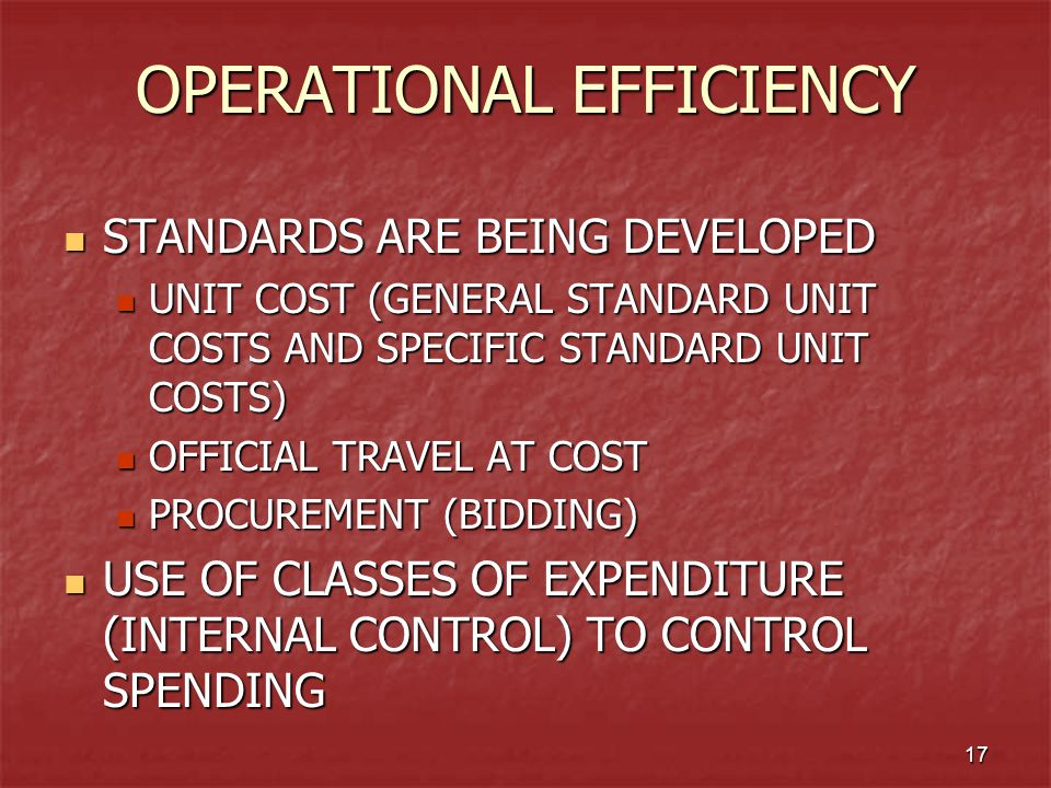 17 OPERATIONAL EFFICIENCY STANDARDS ARE BEING DEVELOPED STANDARDS ARE BEING DEVELOPED UNIT COST (GENERAL STANDARD UNIT COSTS AND SPECIFIC STANDARD UNI