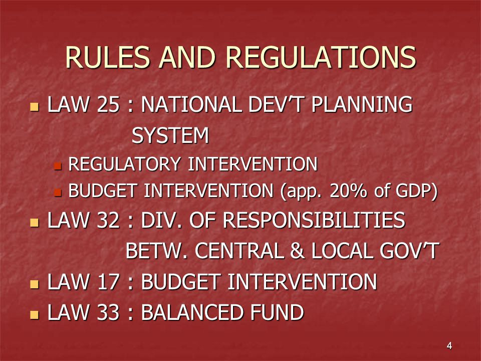 4 RULES AND REGULATIONS LAW 25 : NATIONAL DEV'T PLANNING LAW 25 : NATIONAL DEV'T PLANNING SYSTEM SYSTEM REGULATORY INTERVENTION REGULATORY INTERVENTIO