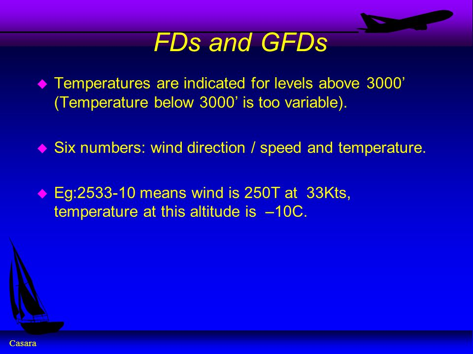 Casara FDs and GFDs u Temperatures are indicated for levels above 3000' (Temperature below 3000' is too variable).