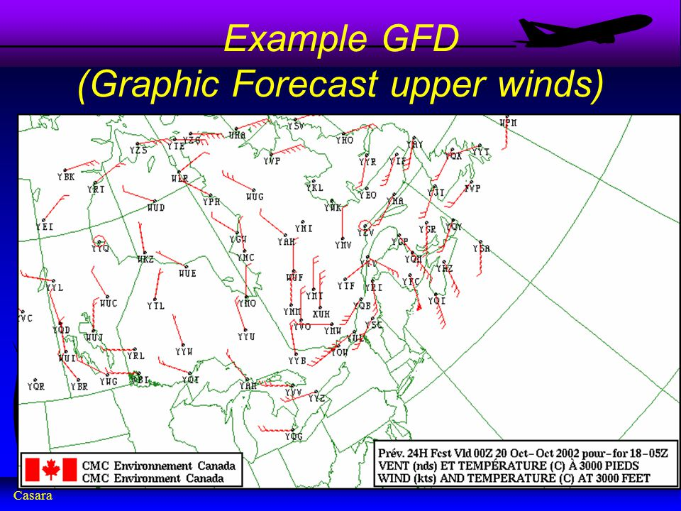 Casara Example GFD (Graphic Forecast upper winds)