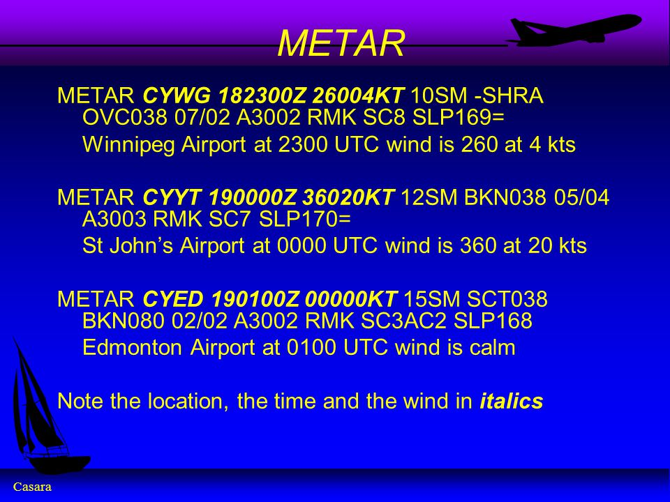 Casara METAR METAR CYWG Z 26004KT 10SM -SHRA OVC038 07/02 A3002 RMK SC8 SLP169= Winnipeg Airport at 2300 UTC wind is 260 at 4 kts METAR CYYT Z 36020KT 12SM BKN038 05/04 A3003 RMK SC7 SLP170= St John's Airport at 0000 UTC wind is 360 at 20 kts METAR CYED Z 00000KT 15SM SCT038 BKN080 02/02 A3002 RMK SC3AC2 SLP168 Edmonton Airport at 0100 UTC wind is calm Note the location, the time and the wind in italics