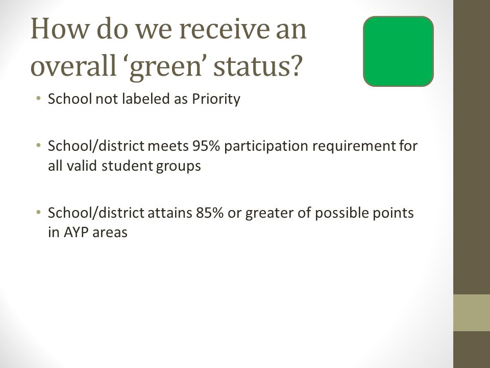 How do we receive an overall 'green' status.
